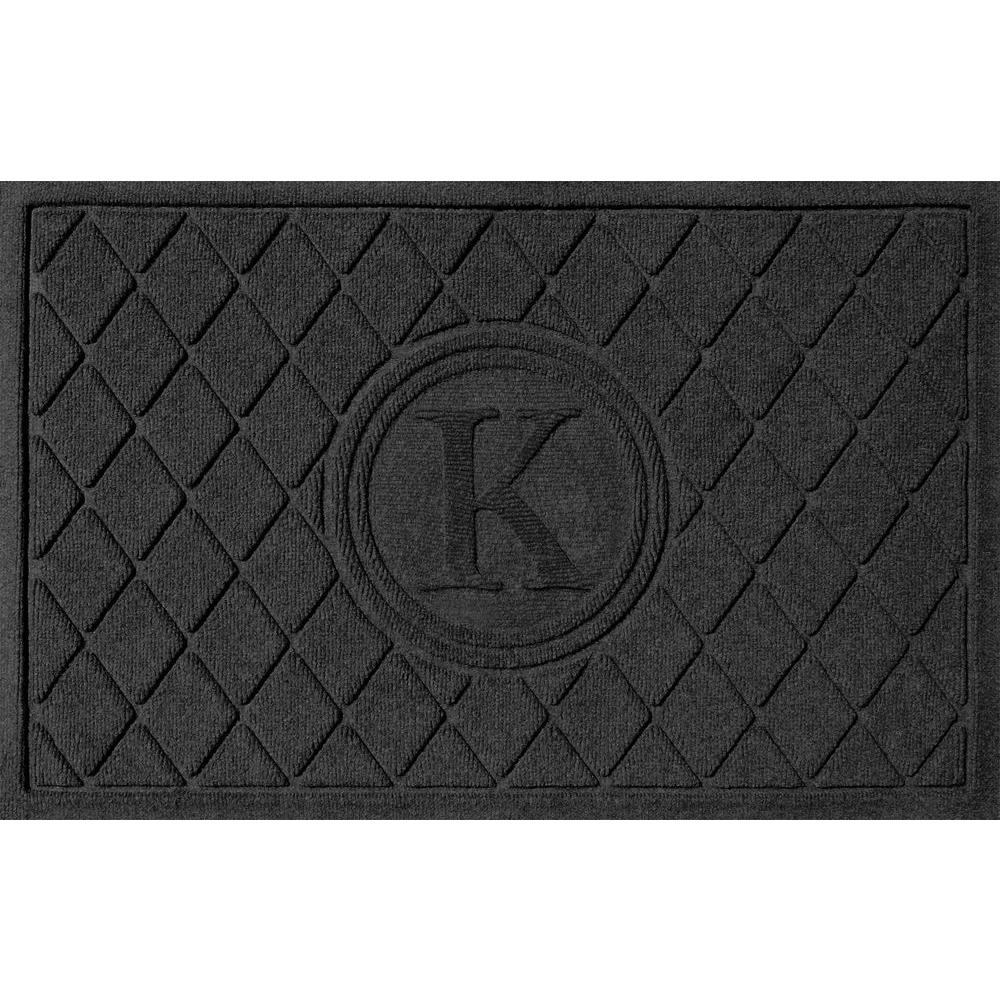 Argyle Charcoal 24 in. x 36 in. Monogram K Door Mat