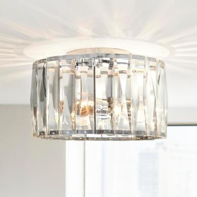 3-Light Chrome Flush Mount with Clear Glass Shade