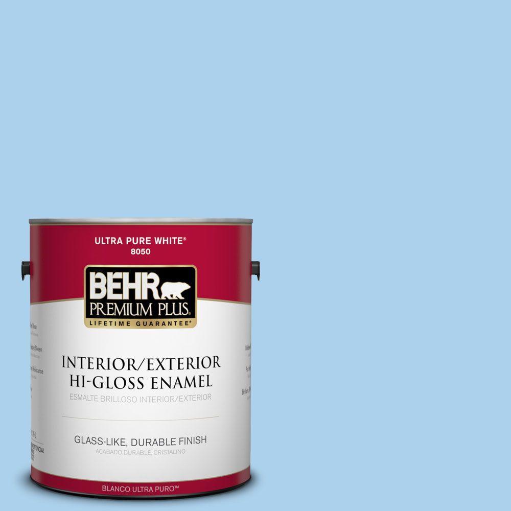 BEHR Premium Plus 1-gal. #560A-3 Utah Sky Hi-Gloss Enamel Interior/Exterior Paint