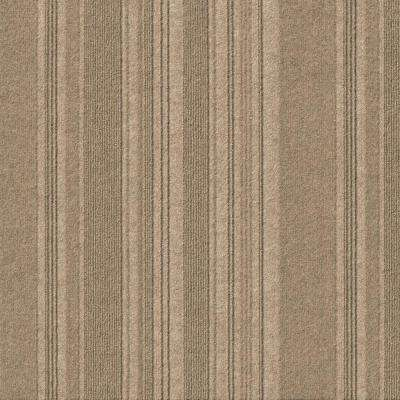 First Impressions Barcode Rib Taupe Texture 24 in. x 24 in. Carpet Tile (15 Tiles/60 sq. ft./case)