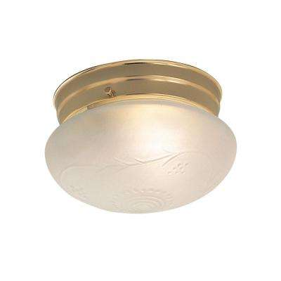 1-Light Polished Brass Flush Mount with White Shade