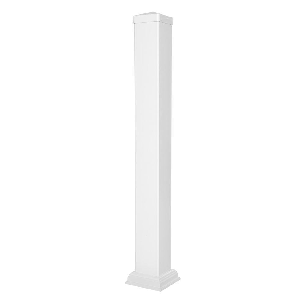 Weatherables 38 in vinyl white railing post sleeve kit wwr postkit 4x38 the home depot - Vinyl railing reviews ...