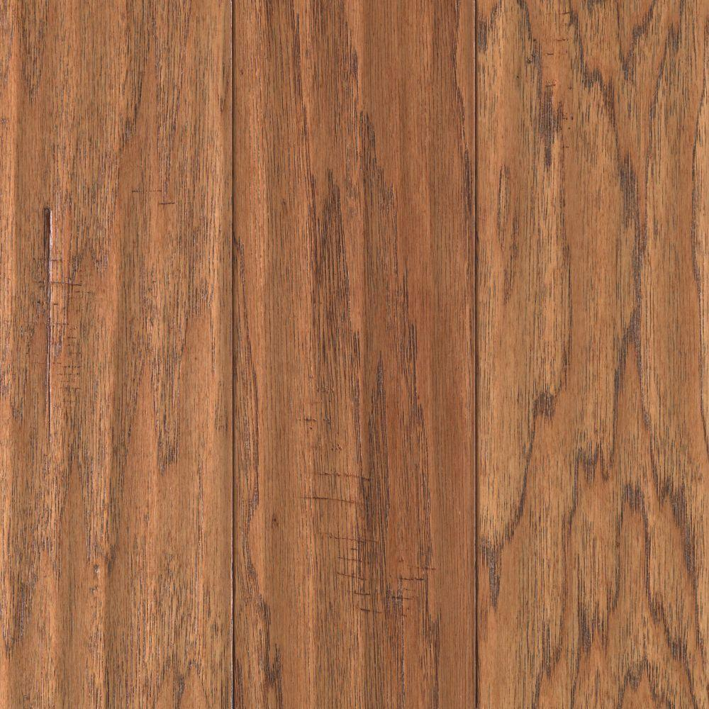 Mohawk Take Home Sample Hickory Chestnut Scrape Click Hardwood Flooring 5 In. X 7 In., Brown