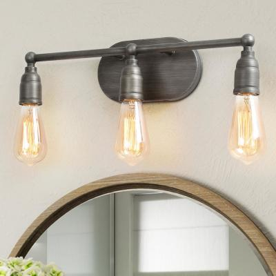 Industrial 3-Light Bath Bar Vanity Light Farmhouse Wall Sconce with Gray Painted Finish