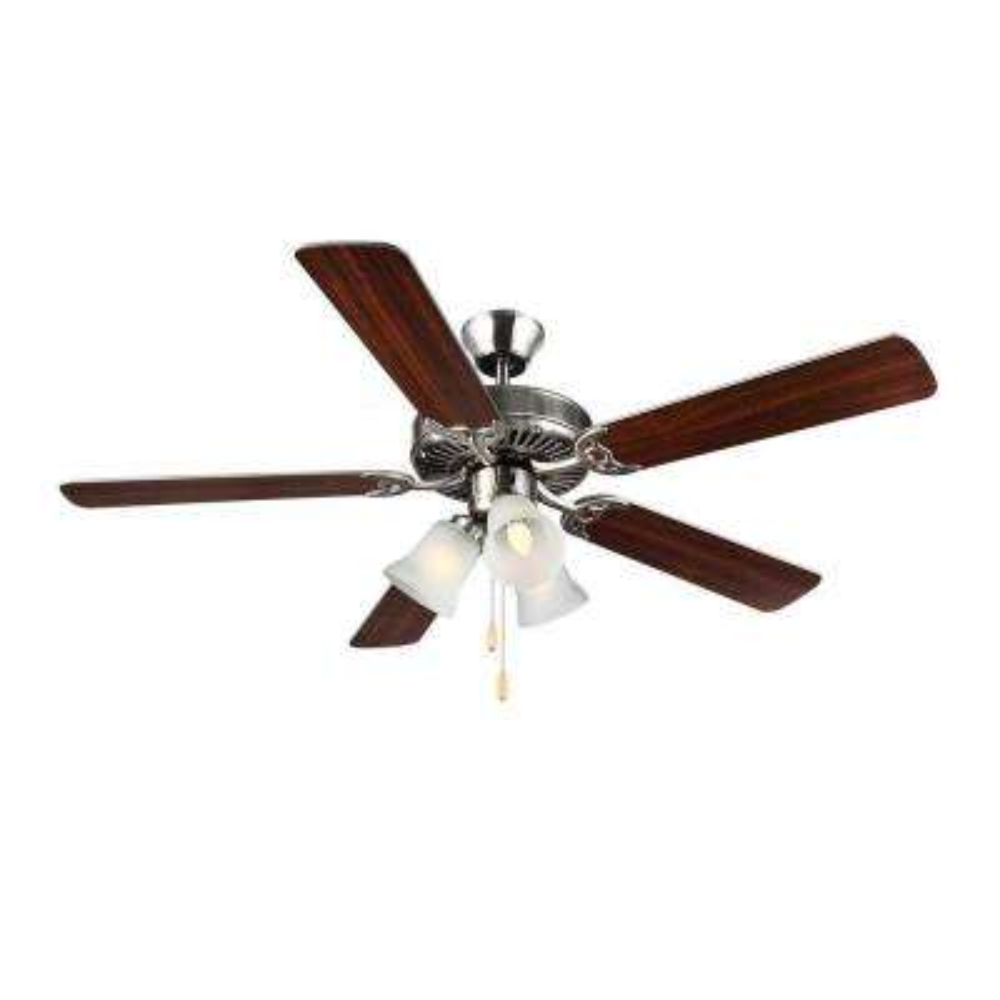 HomeBuilder III 52 in. Brushed Steel Ceiling Fan with Silver American Walnut Blades