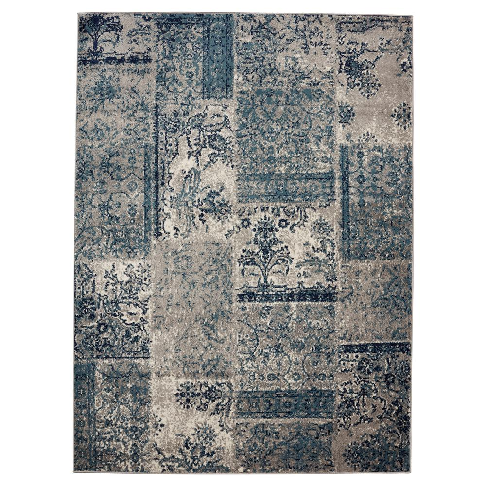 Jasmin Collection Damask Patchwork Design Gray And Teal 6