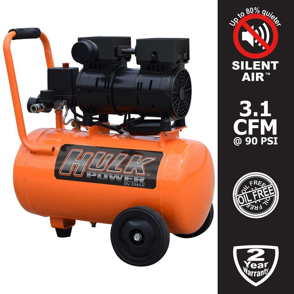 6 Gal. 1 HP Portable Electric-Powered Horizontal Silent Air Compressor