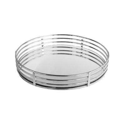 15 in. x 3 in. x 15 in. Silver Metal and Glass Round Serving Tray