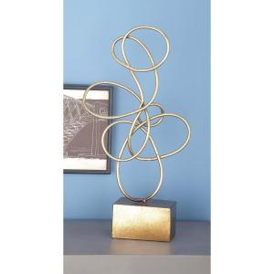 22 inch x 10 inch Decorative Abstract Sculpture in Rustic Gold Iron by