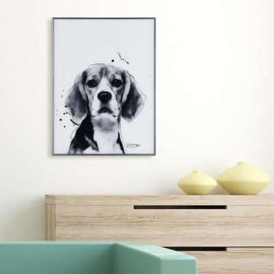 """""""Beagle"""" Black and White Dog Paintings on Reverse Printed Glass Framed Wall Art"""