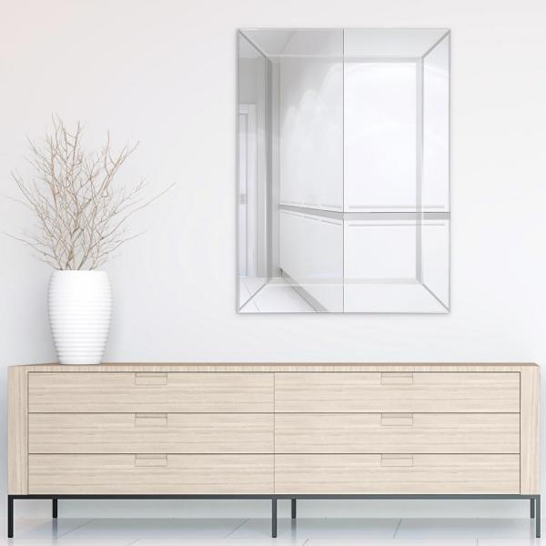 Medium Rectangle Pewter Beveled Glass Modern Mirror (40 in. H x 30 in. W)