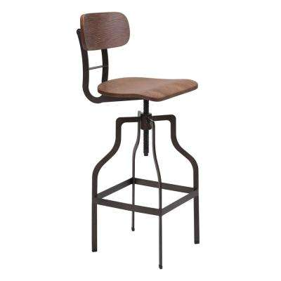 Watts 38.2 in. Brown and Antique Black Bar Chair