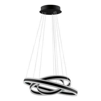 Tonarella 2-Light Black and White Acrylic LED Multi Ring Pendant