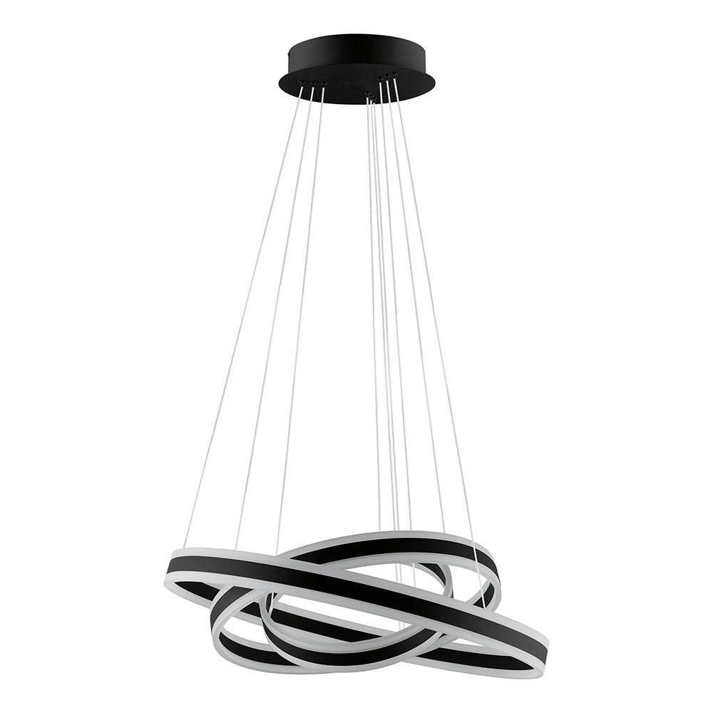 Tonarella 2-Light Black and White Acrylic LED Multi Ring Pendant