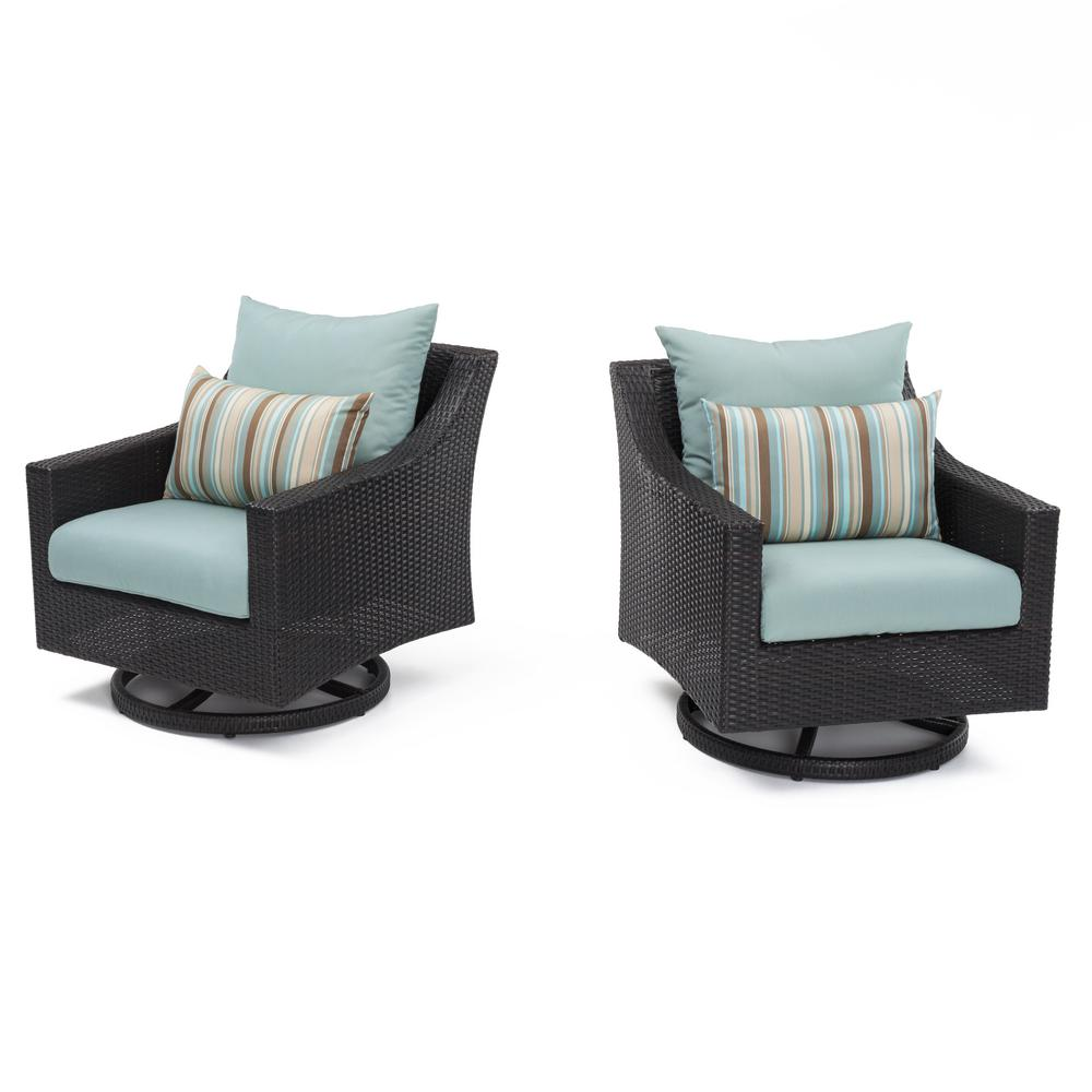 RST Brands Deco All-Weather Wicker Motion Patio Lounge Chair with Bliss Blue Cushions (2-Pack)