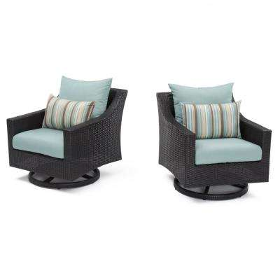 Deco All-Weather Wicker Motion Patio Lounge Chair with Bliss Blue Cushions (2-Pack)