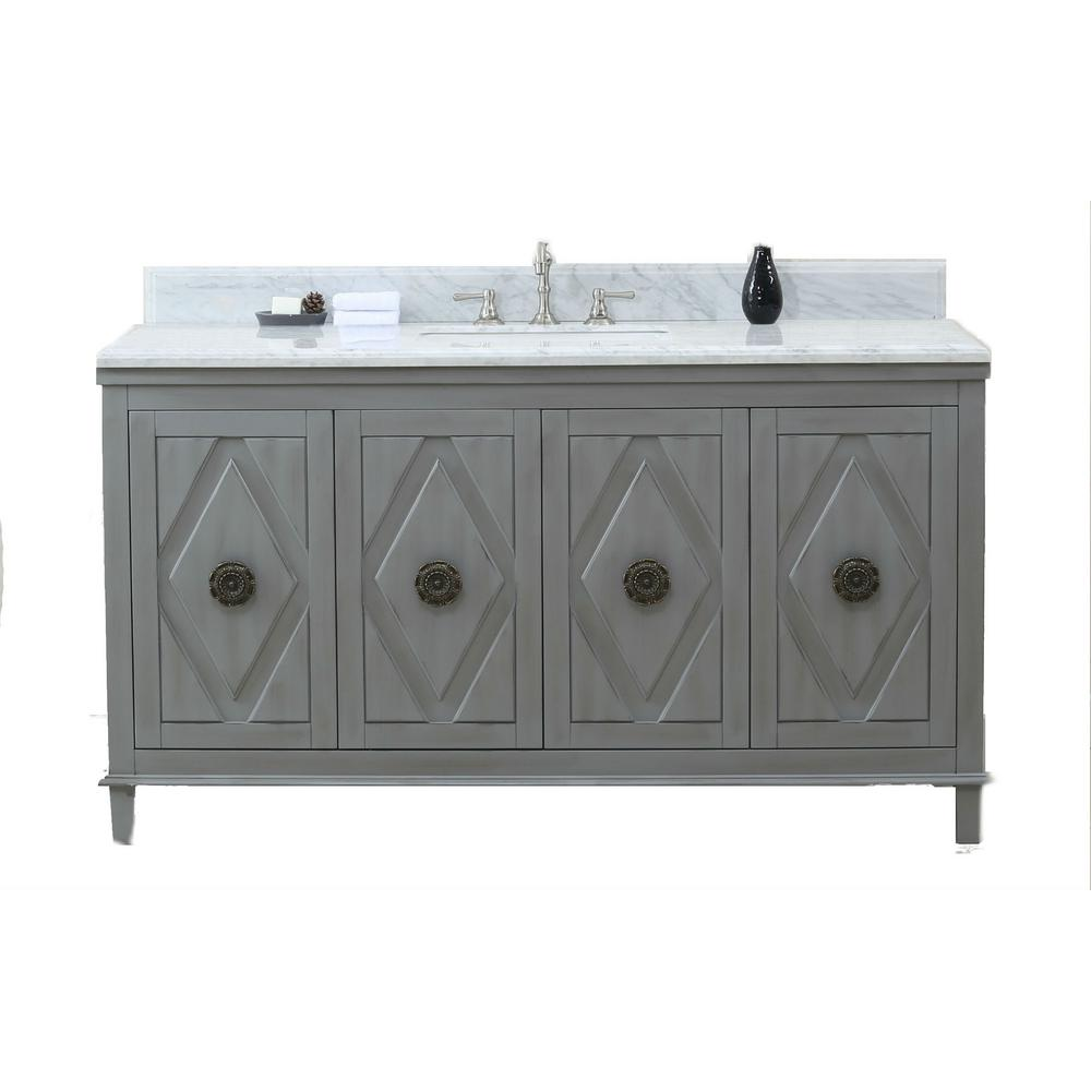 61 in. W x 22 in. D x 38 in. H Vanity in Gray with Marble Vanity Top in Carrara White with White Basin