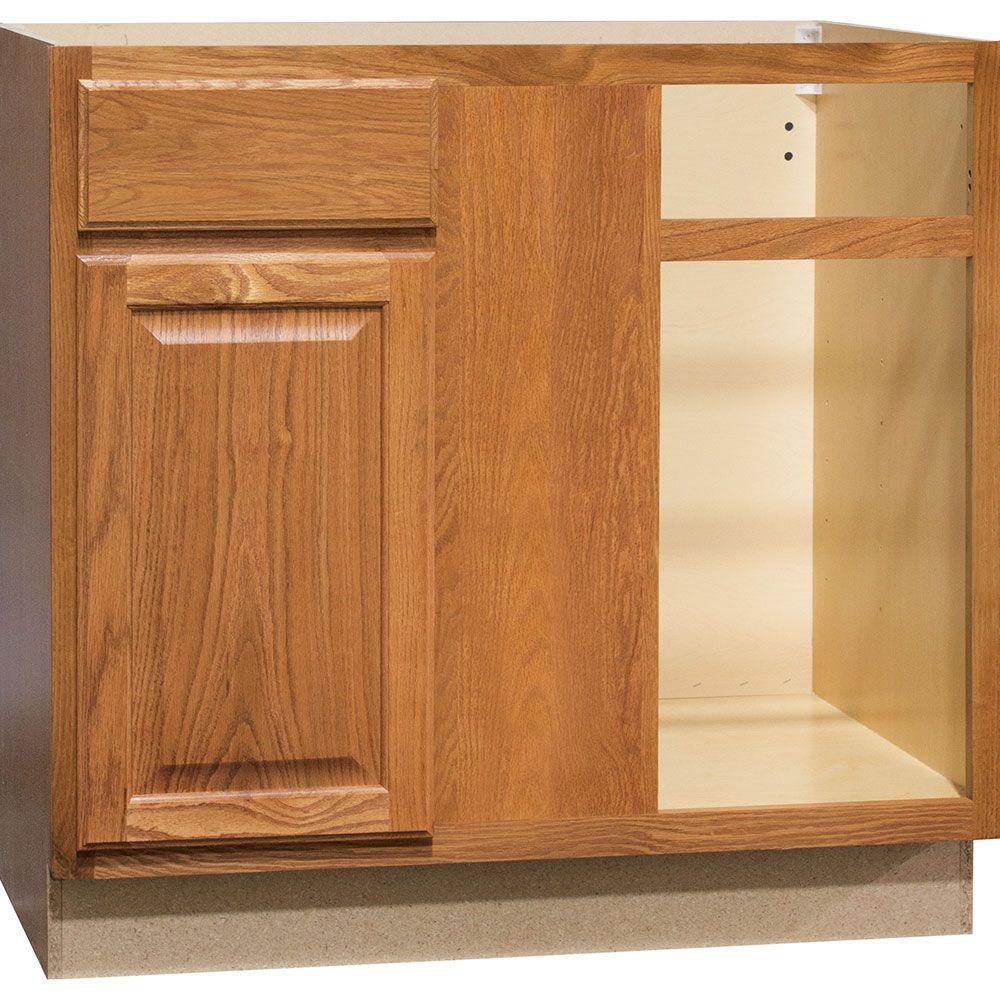 Hampton Bay Hampton Assembled 36x34.5x24 In. Blind Base Corner Kitchen  Cabinet In Medium