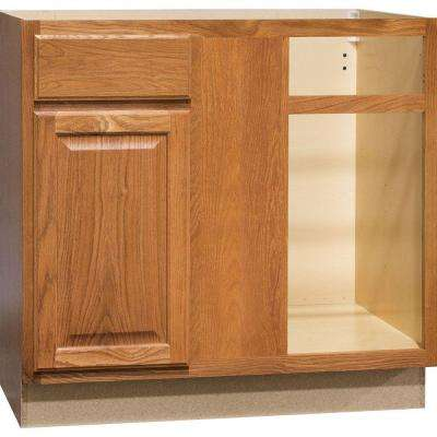 Hampton Assembled 36x34.5x24 in. Blind Base Corner Kitchen Cabinet in Medium Oak