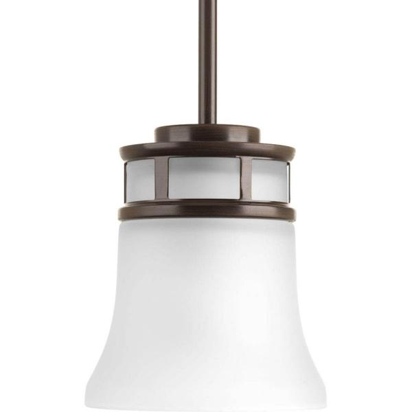 Cascadia Collection 1-Light Antique Bronze Mini Pendant with Etched Glass