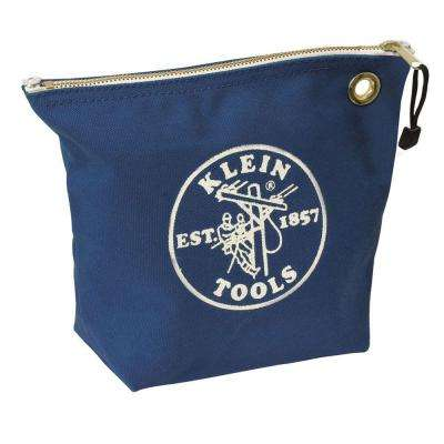 10 in. Consumables Blue Canvas Zipper Bag