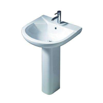 Anabel 555 Pedestal Combo Bathroom Sink in White