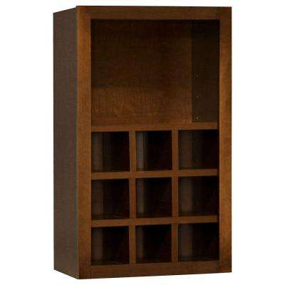 Hampton Assembled 18x30x12 in. Wall Flex Kitchen Cabinet with Shelves and Dividers in Cognac