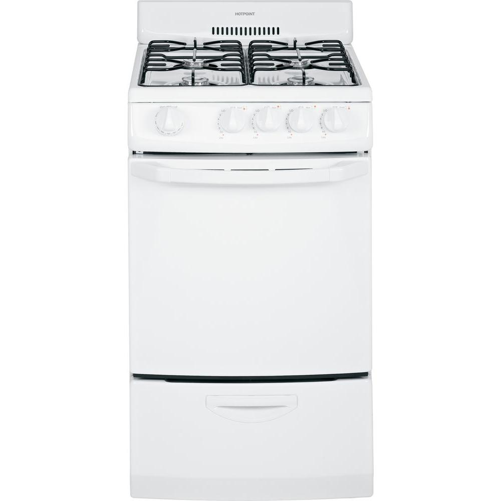 Hotpoint 20 in. 2.4 cu. ft. Gas Range in White-RGA720EKWH - The ...