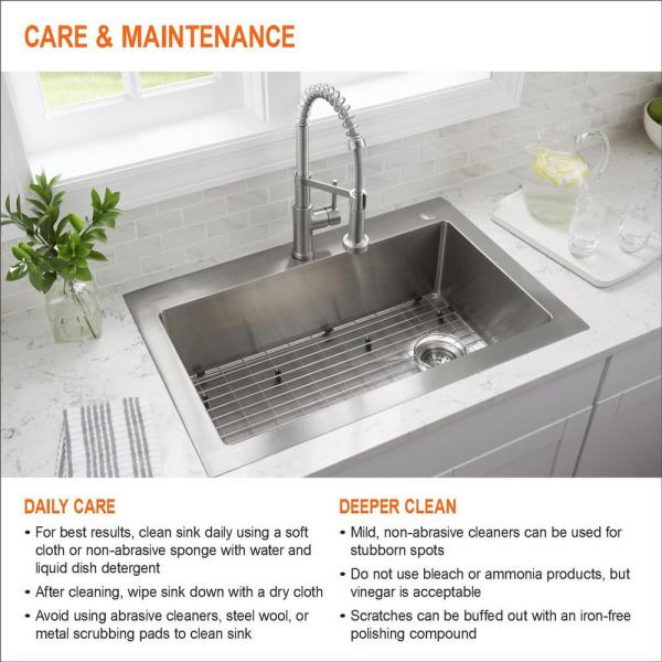 Glacier Bay All In One Undermount 18 Gauge Stainless Steel 23 In 0 Hole Single Bowl Kitchen Sink With Pull Out Kitchen Faucet Vur2318b1p36bn The Home Depot