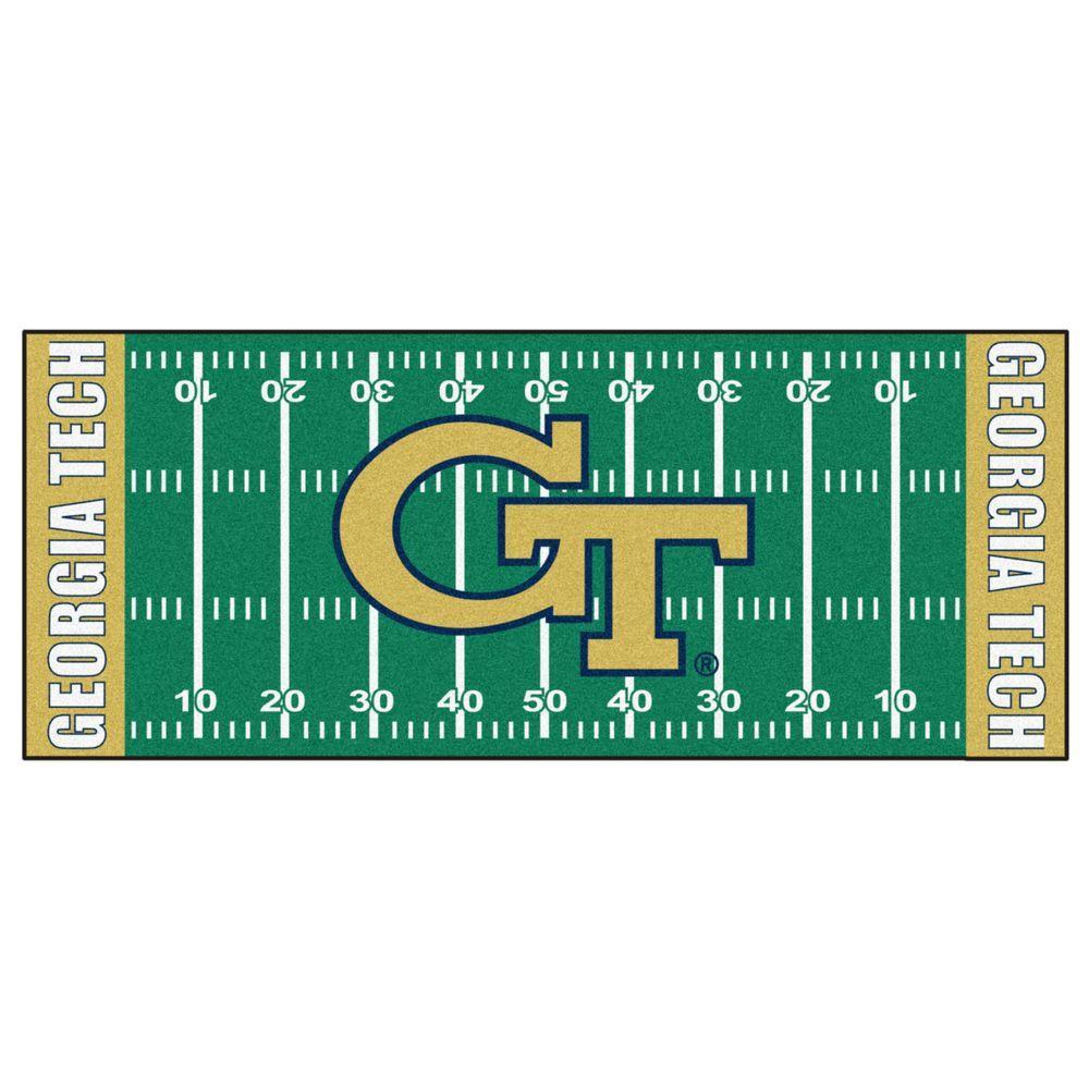 Fanmats Georgia Tech 3 Ft X 6 Football Field Rug Runner 8453 The Home Depot