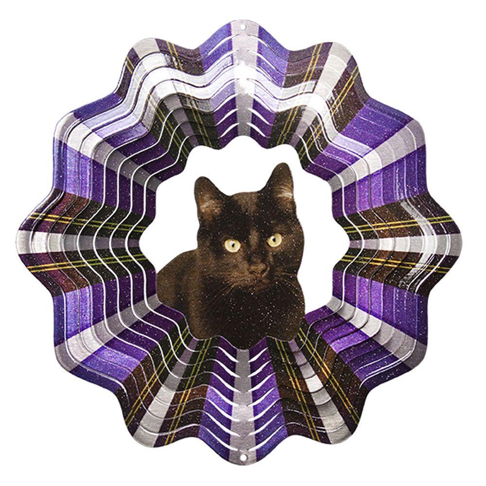 Iron Stop 10 in. Black Cat Wind Spinner