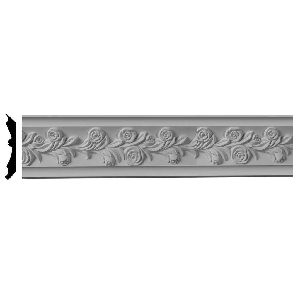 Ekena Millwork 3-7/8 in. x 3-7/8 in. x 96 in. Polyurethane Rose Crown Moulding