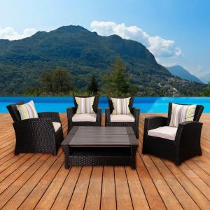 Click here to buy Atlantic Bradley Black 6-Piece Synthetic Wicker Patio Seating Set with Light Grey Cushions by Atlantic.