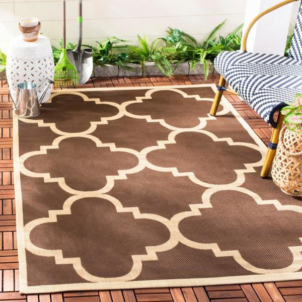 Safavieh Courtyard Dark Brown 8 Ft X 8 Ft Indoor Outdoor Square Area Rug Cy6243 204 8sq The Home Depot