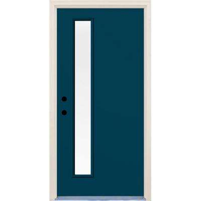 36 in. x 80 in. Atlantis Right-Hand 1 Lite Clear Glass Painted Fiberglass Prehung Front Door with Brickmould