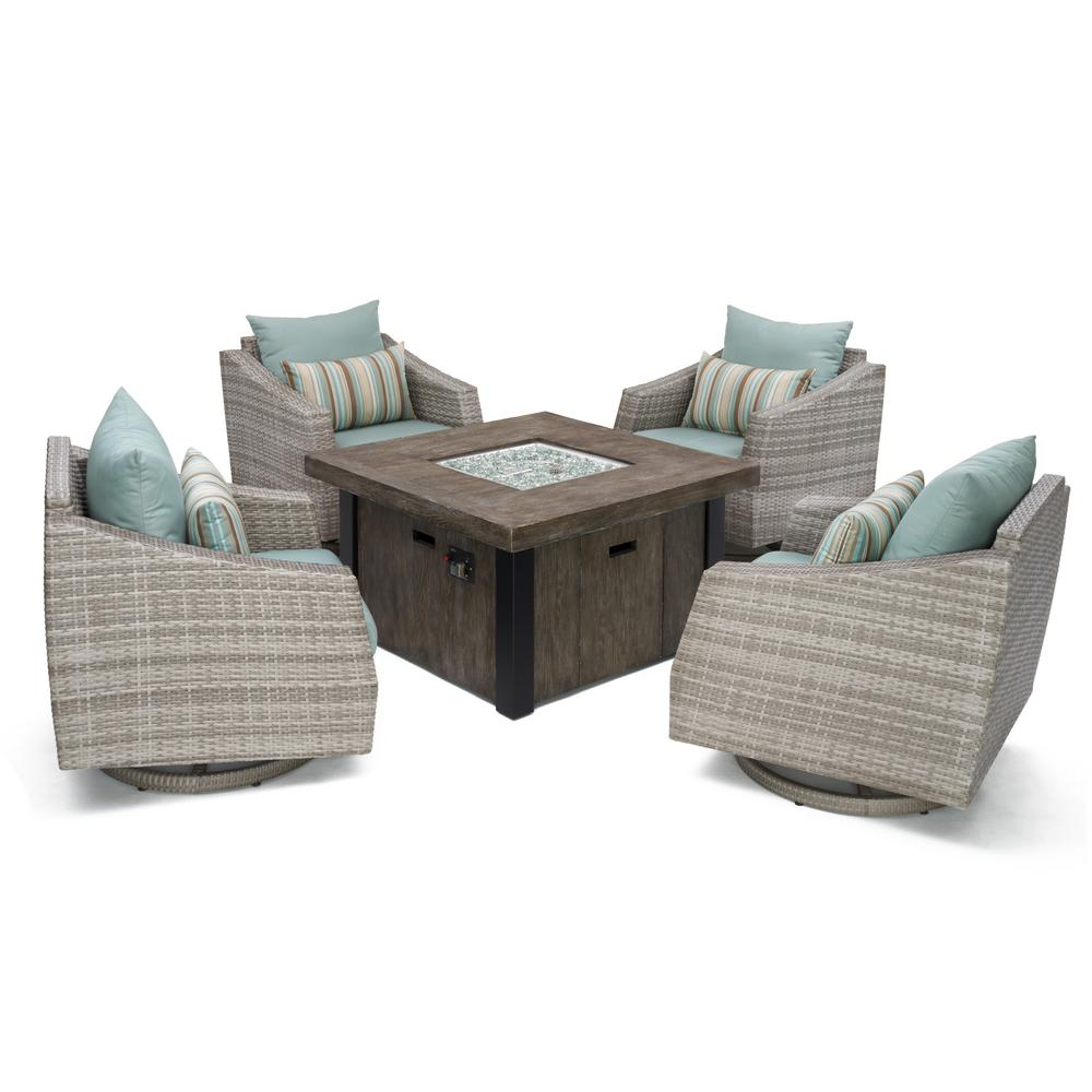RST Brands Cannes 5-Piece All-Weather Wicker Fire Pit Pat...