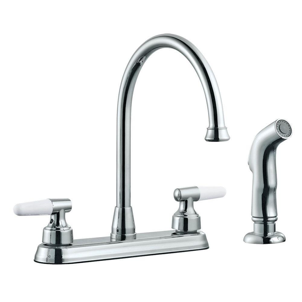 Design House Aberdeen 2-Handle Standard Kitchen Faucet with Side Sprayer in Polished Chrome