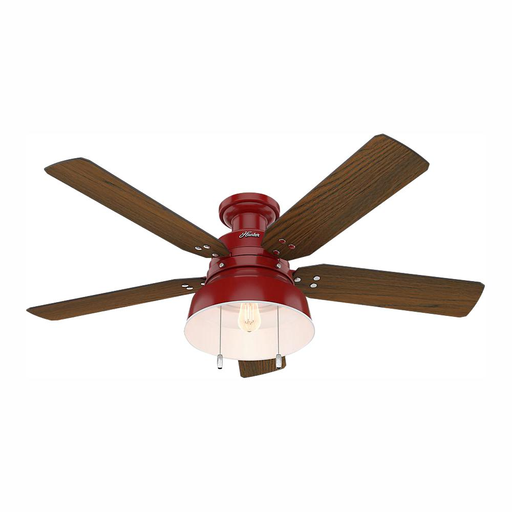 Hunter Mill Valley 52 in. LED Indoor/Outdoor Low Profile Barn Red Ceiling Fan with Light
