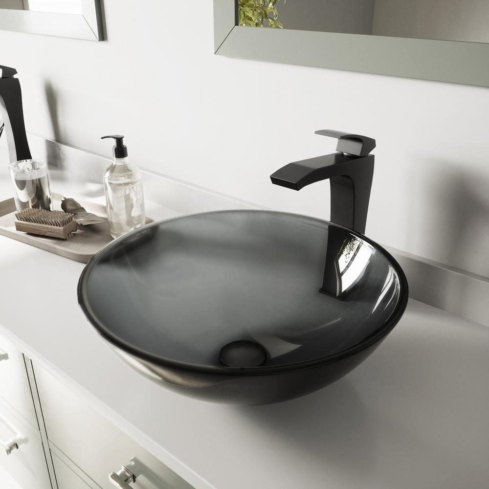 Glass Vessel Bathroom Sink in Sheer Black and Blackstonian Faucet Set in Matte Black