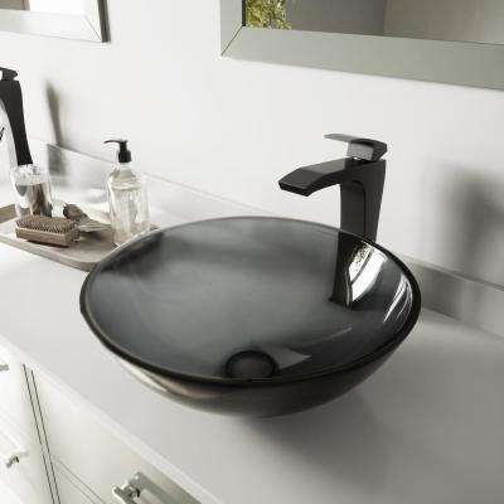 Glass Vessel Sink in Sheer Black and Blackstonian Faucet Set in Matte Black