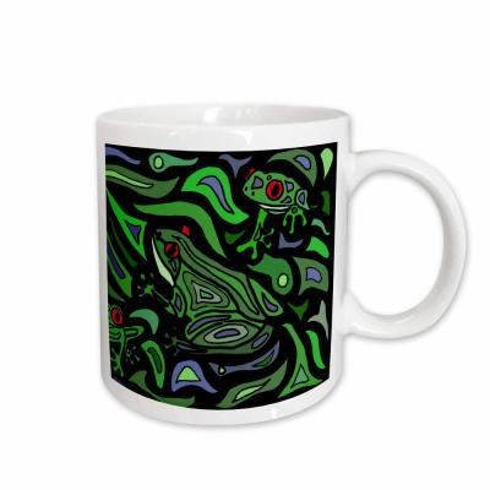All Smiles Art Abstract Fun Frogs Art Abstract Original 11 oz. White Ceramic Coffee Mug