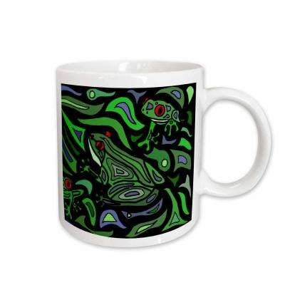 All Smiles Art Abstract Fun Frogs Art Abstract Original 11 oz. White Ceramic Coffee Mug