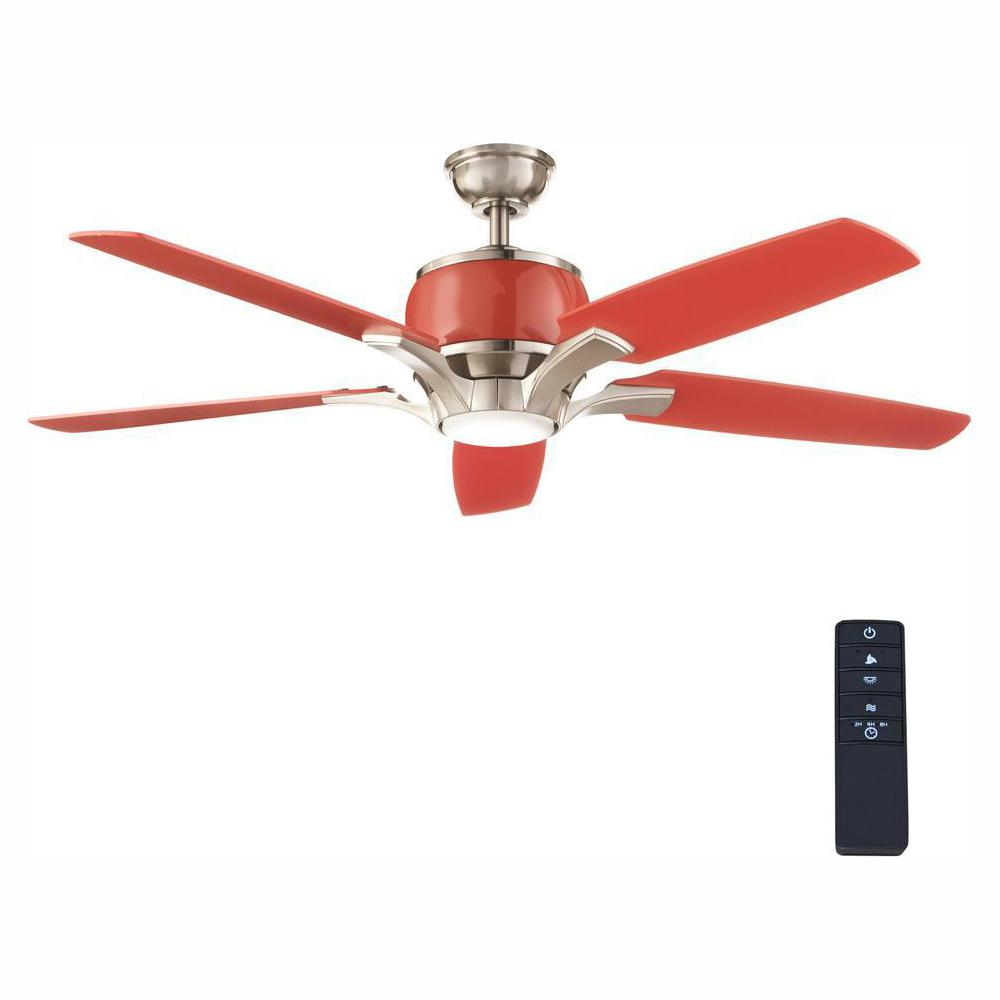 HomeDecoratorsCollection Home Decorators Collection Raymont 52 in. Integrated LED Indoor Brushed Nickel and Red Ceiling Fan with Light Kit and Remote Control