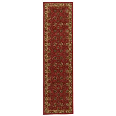 Ottohome Collection Traditional Floral Design Dark Red 3 ft. x 10 ft. Runner Rug