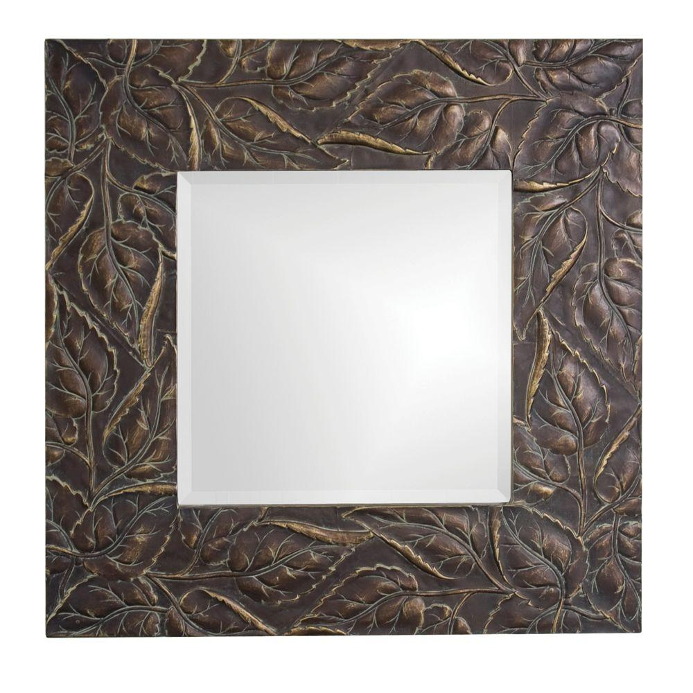 null 31 in. x 31 in. Wood Framed Mirror in Antique Bronze with Verde and Relief Accents