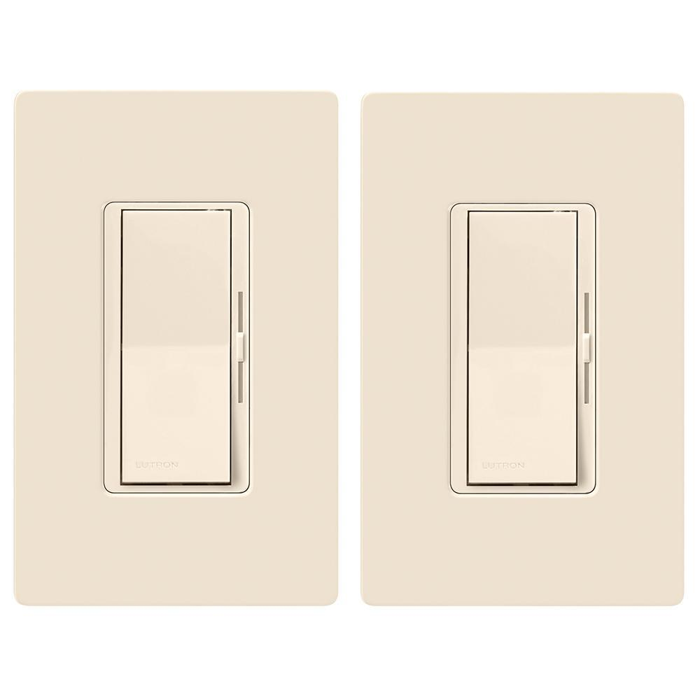 Lutron Diva LED+ Dimmer Switch for Dimmable LED, Halogen and Incandescent Bulbs, Single-Pole or 3-Way, Light Almond (2-Pack)