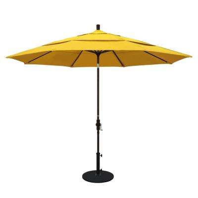 11 ft. Aluminum Collar Tilt Double Vented Patio Umbrella in Lemon Olefin