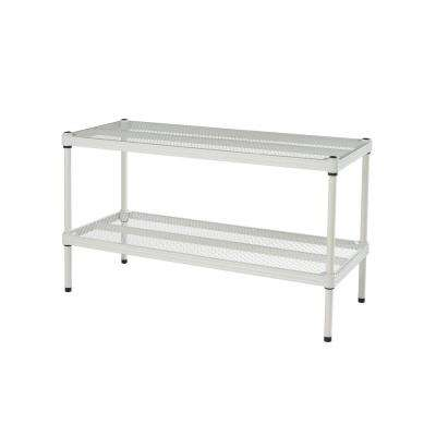 MeshWorks 30.75 in. x 11.8 in. x 15.75 in. 2-Tier White Shoe Shelf