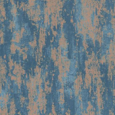 Industrial Texture Blue and Copper Removable Wallpaper Sample