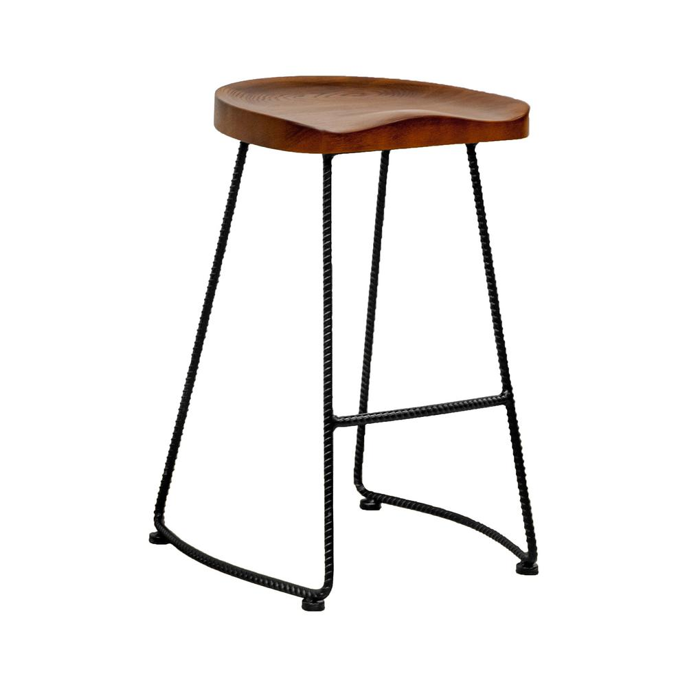 Mod Made Potter Wood Counter Stool With Rustic Metal Legs 26 In Walnut Bar
